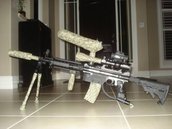 Scarpz_-_Tippmann_98_Custom_M4_Sniper_-_Woodland_Camo_3_Camo HD High Def Pic Image Photo Paintball Marker Gun Upgrades Mods Modifications Mag Scope M4 Sniper Blue Red Illuminated Scope Zoom BiPod Red Dot Carry Handle Buy Online Store Purchase Get Find Cheap Price