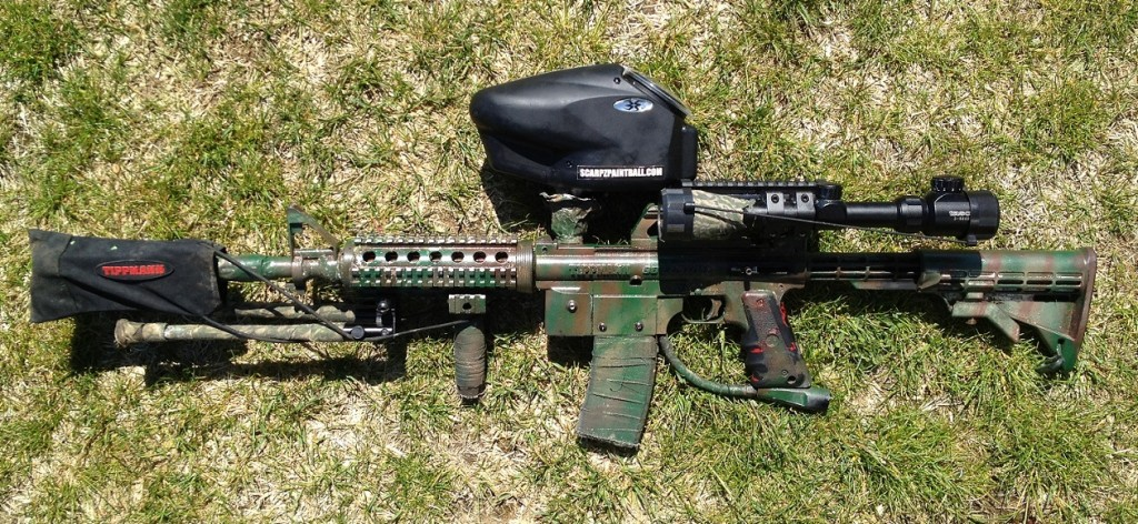 Scarpz's Tippmann 98 M4 Sniper - Halo Too Hopper Scarpz_-_Tippmann_98_Custom_M4_Sniper_-_Woodland_Camo_3_Camo HD High Def Pic Image Photo Paintball Marker Gun Upgrades Mods Modifications Mag Scope M4 Sniper Blue Red Illuminated Scope Zoom BiPod Red Dot Carry Handle Buy Online Store Purchase Get Find Cheap Price