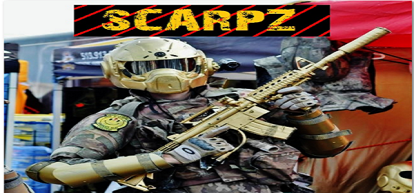 Scarpz – Golden Armor – Aztek Future Soldiers – Aztek Custom Paintball Products – Tippmann 98 Custom M4 Gold – Gears of War Helmet – Mirror Lens, OTV Body Armor Scenario Paintball Zombie Event  Day of the Dead 11