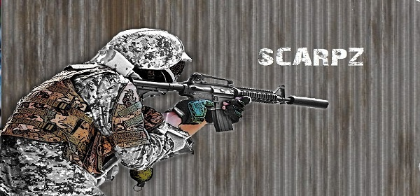 Scarpz #3 – London, Ontario, Canada. Cartoon Edited HD Graphic Image Art Poster Photo Picture Pic Military Gear Uniform Rifle And Paintball Equipment Rocket Recovery Mission PRZ Prince Edward Recreational Zone