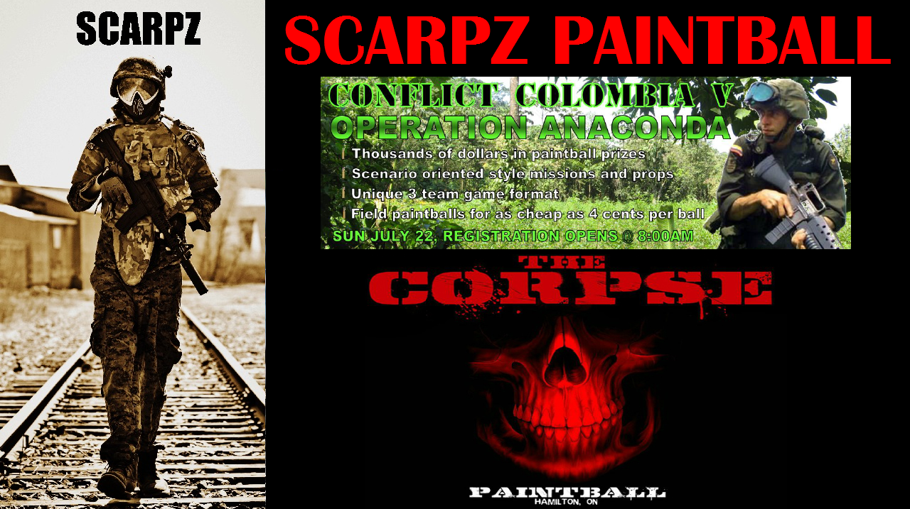 SCARPZ & THE CORPSE @ Conflict Colombia Paintbal HD First Person Soldiers of Fortune Hamilton, Ontario, Canada, London, Athlete Sports, Woodsball Videos Pictures Pics Poster Image Event