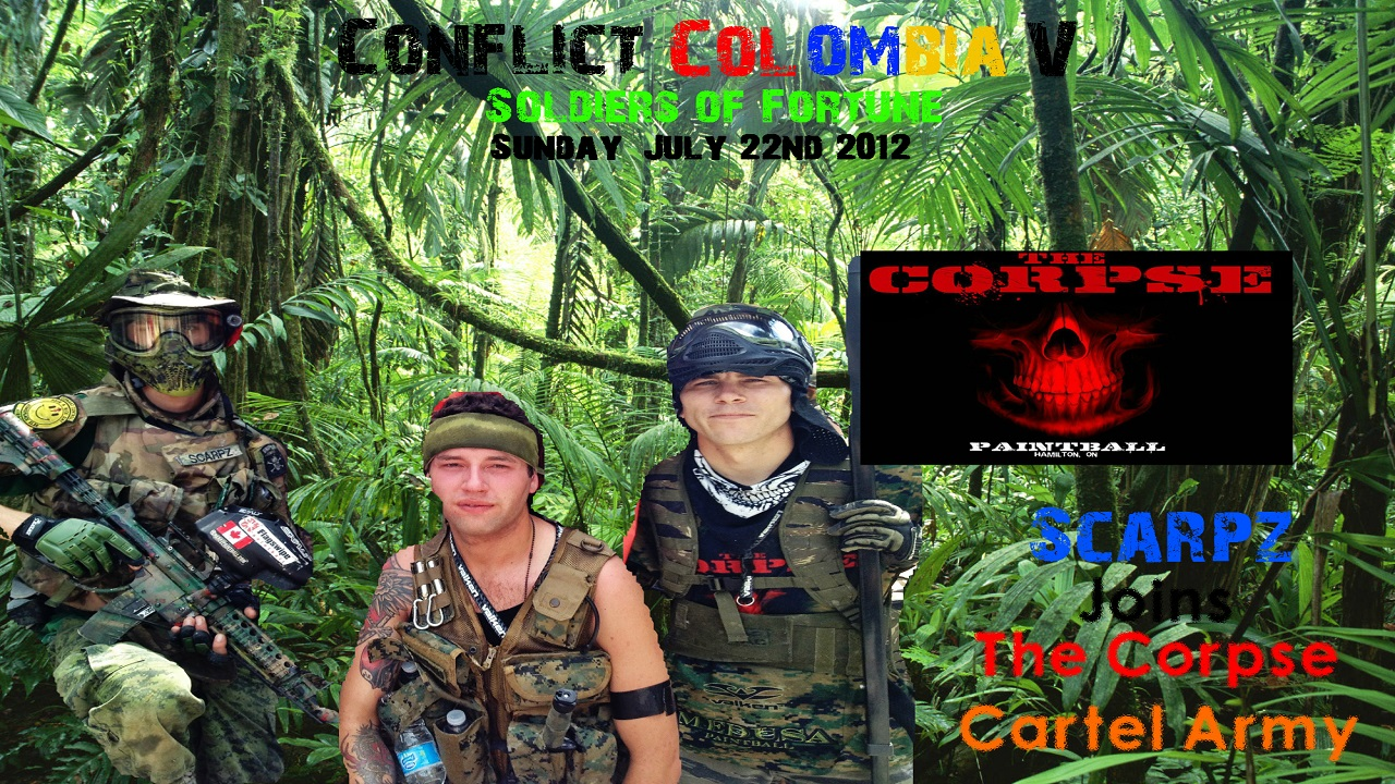 SCARPZ @ CONFLICT COLOMBIA Hamilton Ontario, Canada, Woodsball Scenario Jungle Warfare, The Corpse Paintball Team
