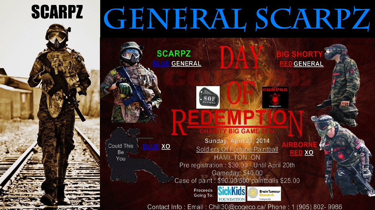 GENERAL SCARPZ: CHARITY PAINTBALL EVENT Corpse Team Big Game Money Raise Miracle Brain Tumor Cancer Sick Kids Hospital Ontario Canada