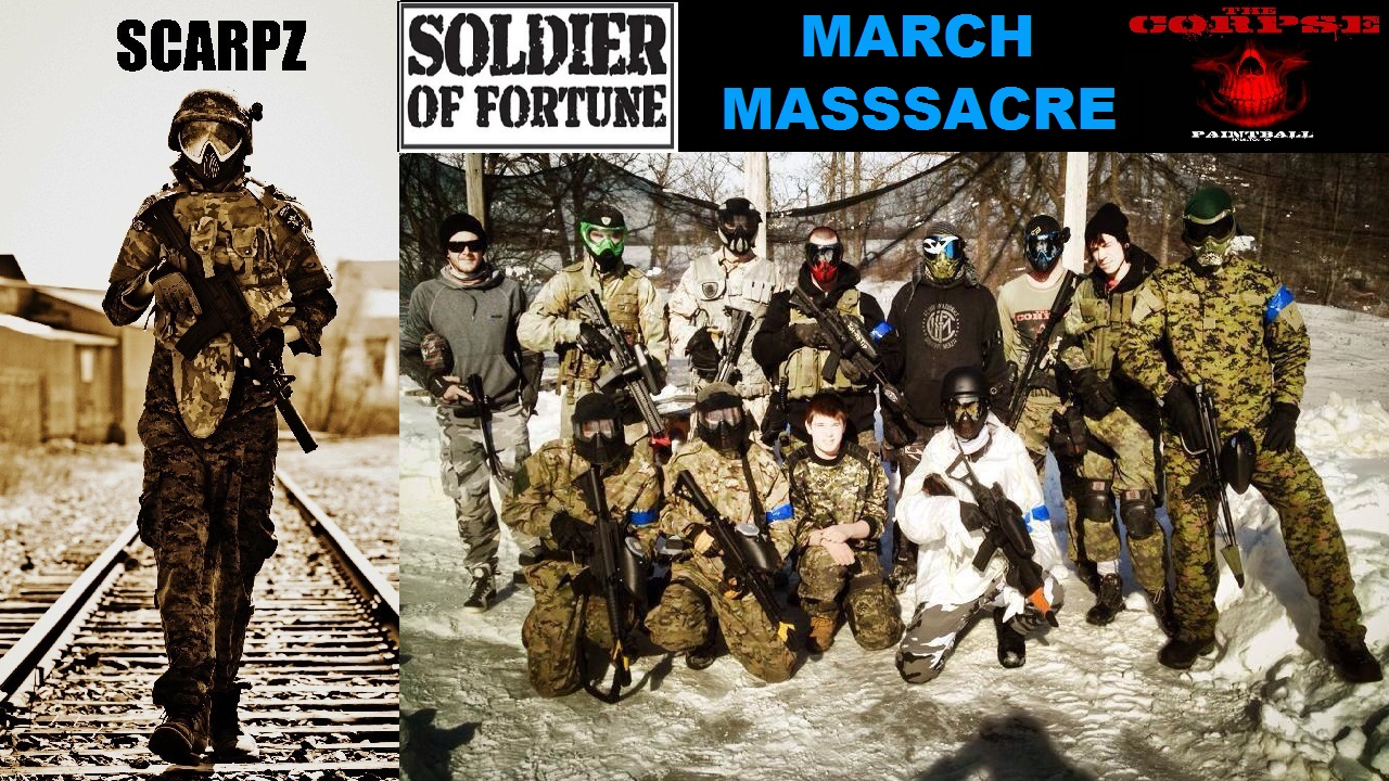 WINTER PAINTBALL: March Massacre SOF Soldiers of Fortune Scarpz HD First Person High Def Videos Photos Pictures Pics Hamilton Ontario Canada Helmet Cam Mask Dye I4 Black & Gold Mirror Lens