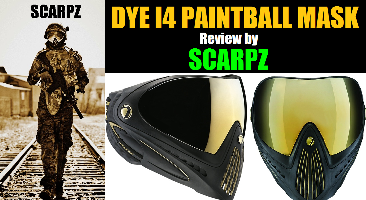 DYE I4 Paintball Mask Review by SCARPZ Gear Product Pros Cons Like Price Buy Online Shop Store Cost London Ontario Canada Toronto Black & Gold Mirror Lens