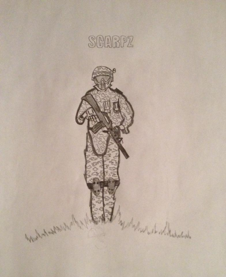 SCARPZ: Art Sketch by Brandon Uguccioni Pencil Drawing Black & White Paintball Sports Athlete London Ontario Canada Woodsball Soldier Army Camo Tippmann M4 Grass Hill Standing Strong Stance Photo Pic HD Cool Awesome Image
