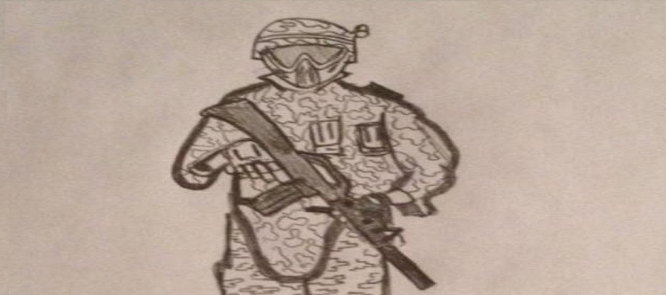 SCARPZ: Art Sketch by Brandon Uguccioni Pencil Drawing Black & White Paintball Sports Athlete London Ontario Canada Woodsball Soldier Army Camo Tippmann M4