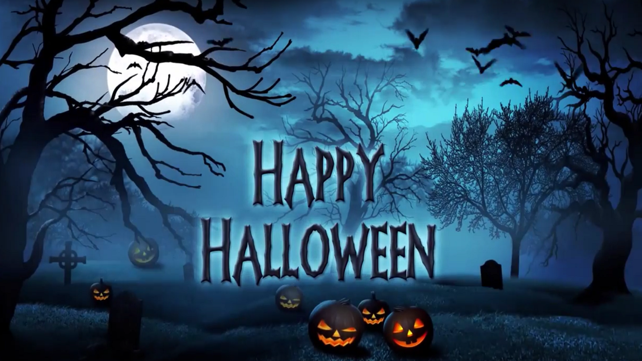 Happy Halloween 2015 Scarpz Paintball London Ontario Canada Scenario Haunted Scary Outdoor Graphic Design Animation Video Pic Image Photo HD High Def Pumpkin Font Writing Blue Dark Wallpaper Background Happy Halloween Event Social Media